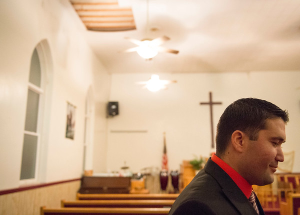 Joed Viera/Staff Photographer Lockport, NY- during a meeting taking place at First AME Church on South Street to discuss a fundraising effort to replace the ceiling of the 140-year old structure.