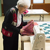 JOED VIERA/STAFF PHOTOGRAPHER-Wilson, NY- Pauline Alvers prepares some fabric for a quilt at Exley United Methodist Church.