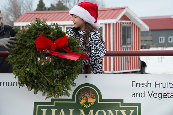 Joed Viera/ Staff Photographer- Pendleton, NY-Tessa Ostrowski holds a Halmony Farms Christmas wreath.