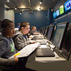 Joed Viera/Staff Photographer Lockport, NY-Cataract Elementary School students Jason Pittman, 10 and Brian Iusi, 10 work in the probe area of the Challenger Center's central command.  Their 5th-grade class won the school's trip to Challenger Center.