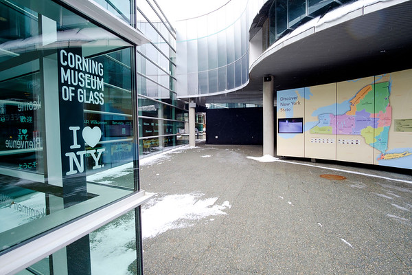 Joed Viera/Staff Photographer Corning, NY- The recently upgraded entrance to the Corning Museum of Glass, paid for in part by a state grant, highlights the tourist attractions of upstate New York.