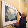 Joed Viera/Staff Photgrapher-Lockport, NY-Jody Ziehm hangs her painting at the Kenan House in preparation of her gallery opening with Kathleen Giles.
