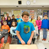 JOED VIERA/STAFF PHOTOGRAPHER-Lockport, NY-Anthony Bernardi stands in front of the rest of Martha LaPoint's fourth-grade class in their classroom at Charles Upson Elementary School.
