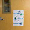 JOED VIERA/STAFF PHOTOGRAPHER-Lockport, NY-A sign shows the bucket dipping concept inspiration for Anthony Bernardi's idea at Charles Upson Elementary School.