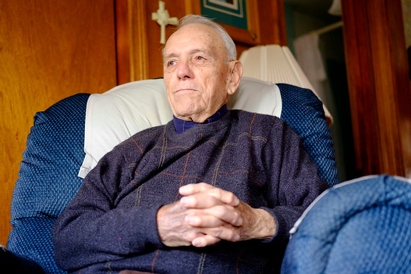 JOED VIERA/STAFF PHOTOGRAPHER-Tonawanda, NY-WW2 Army Veteran Ralph Librock sits at his home. Librock served most of the war between Alaska and Canada as a quartermaster for troops building an icy road from British Colombia to Alaska