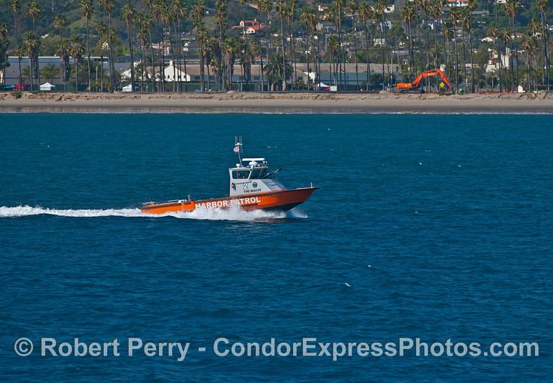 Santa Barbara Harbor Patrol boat - East Beach, Santa Barbara.