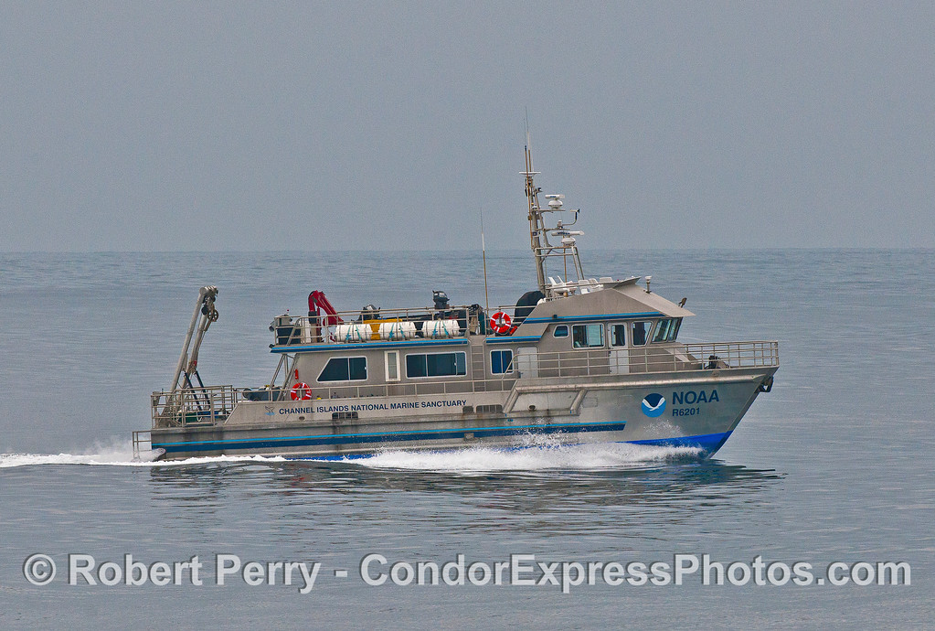 "The NOAA research vessel ""Shearwater"" heading out into the Santa Barbara Channel."