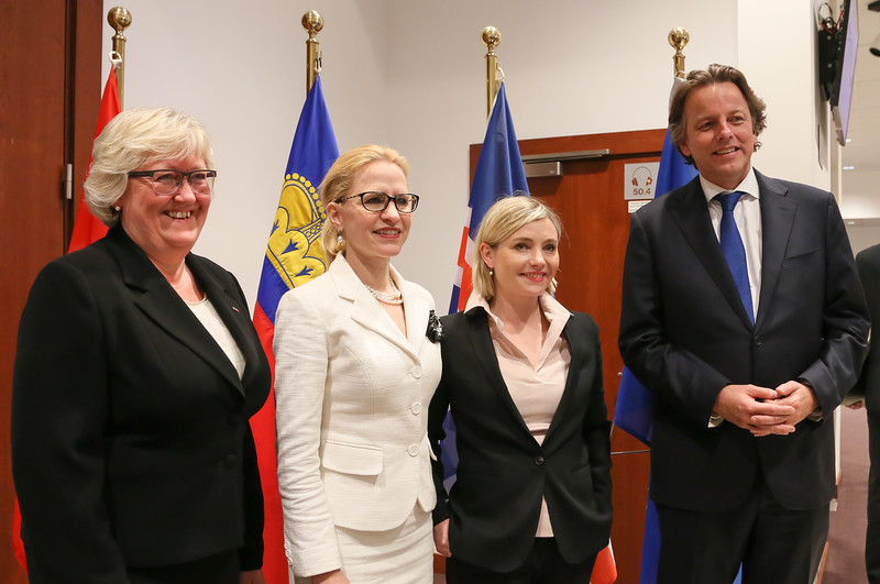 From left: Ms Elisabeth Aspaker, Minister of EEA and EU Affairs of Norway; Ms Aurelia Frick, Minister of Foreign Affairs of Liechtenstein; Ms Lilja Dögg Alfreðsdóttir, Minister for Foreign Affairs of Iceland; and Mr Bert Koenders, Minister of Foreign Affairs of the Netherlands