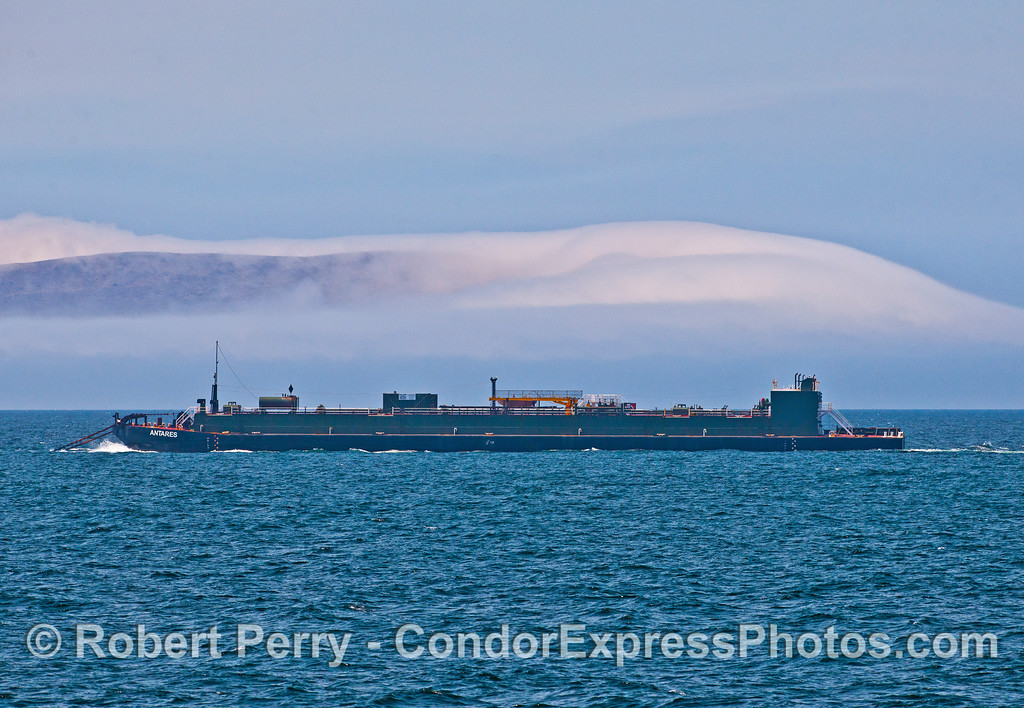 """Oil barge """"Antares"""" being towed by the tug """"Washington"""" heading towards LA."""