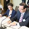 Mr Juan Carlos Cassinelli Cali, Minister of Foreign Trade of Ecuador, and his interpreter