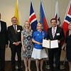 From left: Mr Kristinn Árnason, Secretary-General, EFTA;  Mr Didier Chambovey, Ambassador, Switzerland; Ms Aurelia Frick, Minister of Foreign Affairs, Liechtenstein; Ms Lilja Alfreðsdóttir, Minister for Foreign Affairs and External Trade, Iceland; Mr Juan Carlos Cassinelli, Minister of Foreign Trade, Ecuador; Ms Monica Mæland, Minister of Trade and Industry, Norway