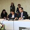 From left: Interpreter, Mr Juan Carlos Cassinelli, Minister of Foreign Trade, Ecuador; Mr Gonzalo Salvador, Ambassador, Ecuador