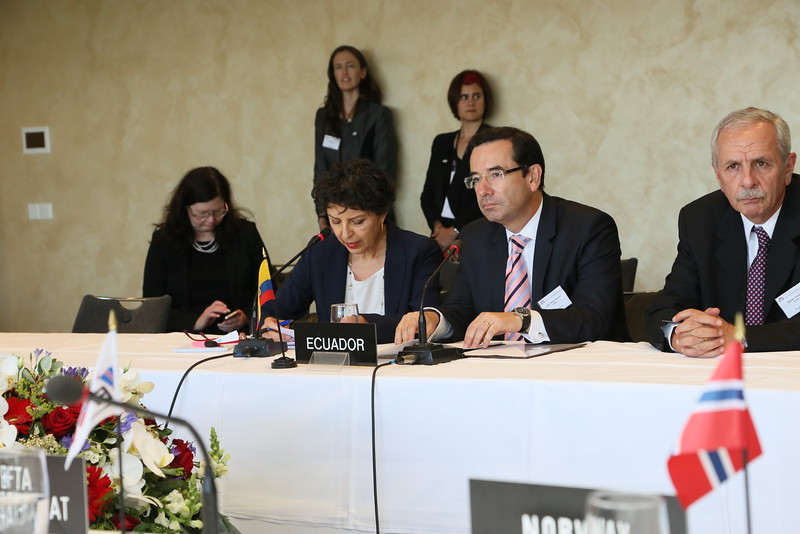 From left: Interpreter, Mr Juan Carlos Cassinelli, Minister of Foreign Trade, Ecuador; Mr Gonzalo Salvador, Ambassador, Ecuador