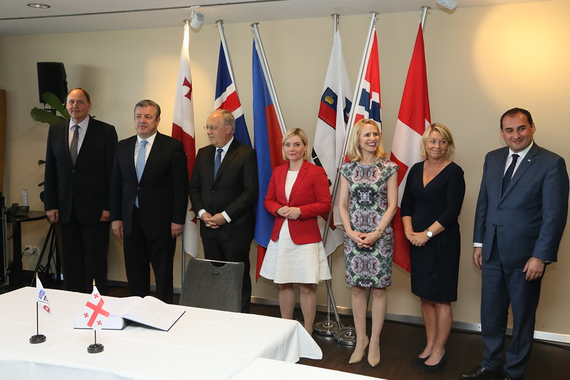 From left: Mr Kristinn Árnason, Secretary-General, EFTA;  Mr Girogi Kvirikashvili, Prime Minister, Georgia; Mr Johann N. Schneider-Ammann, President of Switzerland and Head of the Federal Department of Economic Affairs, Education and Research of Switzerland; Ms Lilja Alfreðsdóttir, Minister for Foreign Affairs and External Trade, Iceland; Ms Aurelia Frick, Minister of Foreign Affairs, Liechtenstein; Ms Monica Mæland, Minister of Trade and Industry, Norway; Mr Dimitry Kumsishvili, Vice Prime Minister and Minister of Economy and Sustainable Development, Georgia