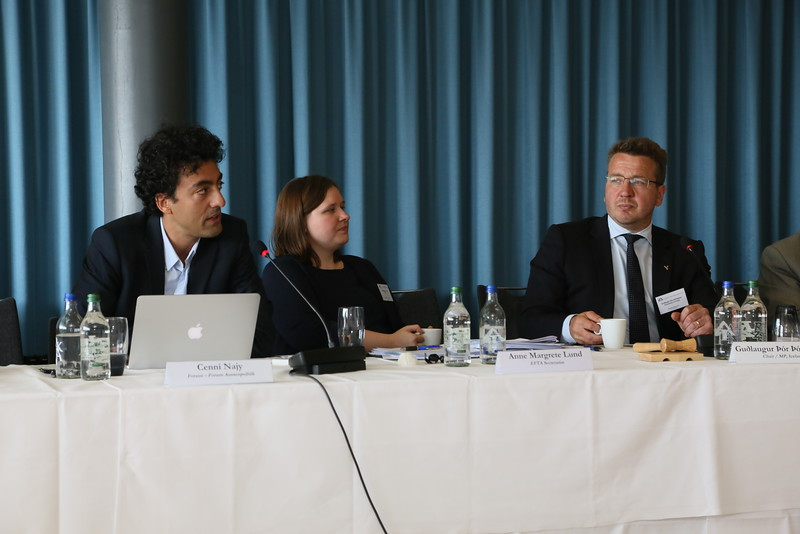 Researcher Cenni Najy briefs the EFTA Parliamentary committee on the results of the UK referendum. Chair Gudlaugur Thór Thórdarson on the right. Anne Margrete Lund from EFTA Secretariat in centre.