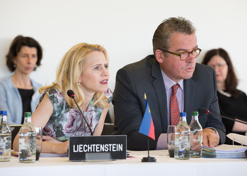 From left: Ms Aurelia Frick, Minister of Foreign Affairs, Liechtenstein; Mr Peter Matt, Ambassador, Liechtenstein