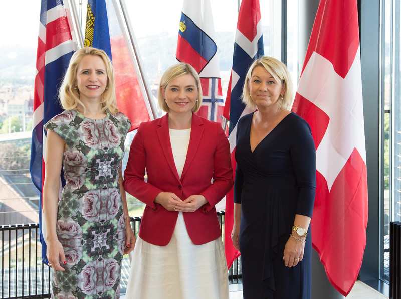 Ms Aurelia Frick, Minister of Foreign Affairs, Liechtenstein; Ms Lilja Alfreðsdóttir, Minister for Foreign Affairs and External Trade, Iceland; and Ms Monica Mæland, Minister of Trade and Industry, Norway