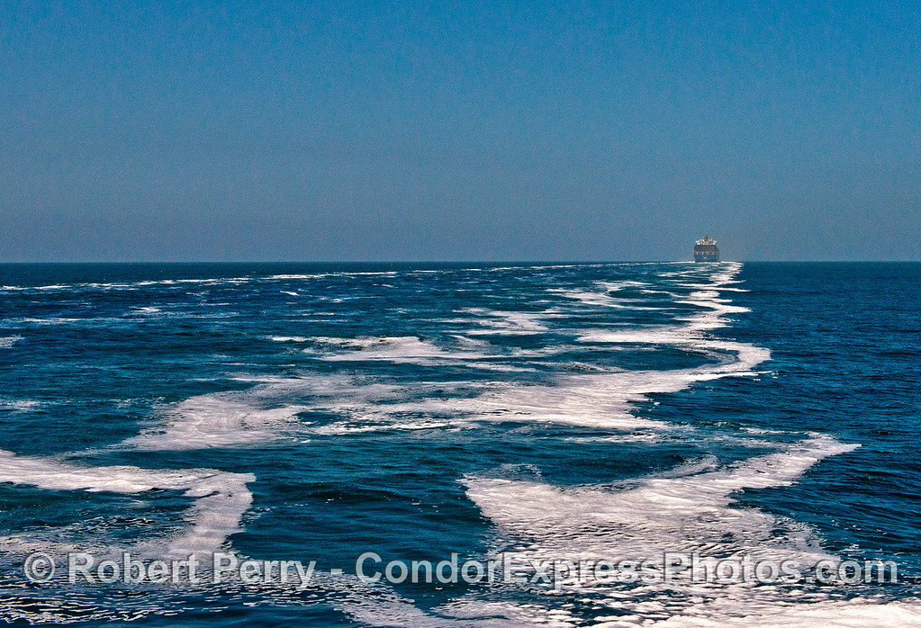 "Image 2 of 2:  A big wake from container ship ""Archmidis"" running up the Channel at 20 knots.  We felt the wake waves 30-minutes later while watching whales."