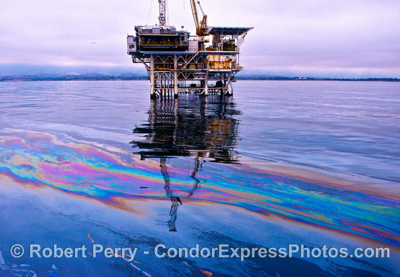 Offshore oil Platform Holly surrounded by the less dense fraction of liquids put into the environment through dozens of natural seeps on the ocean floor.