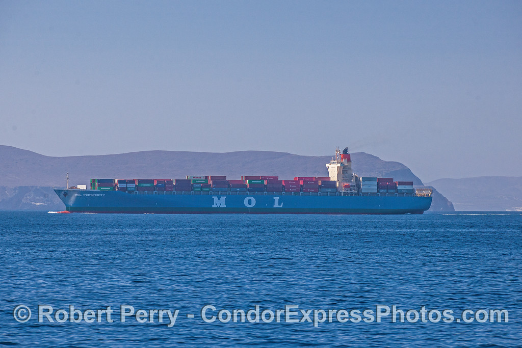 "Inbound container cargo vessel ""MOL Prosperity""  heading for LA Harbor"