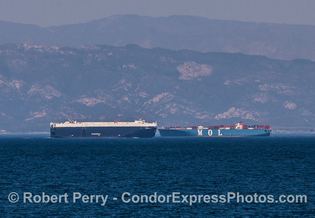 "An inbound car carrier (or ""Ro-ro"") meets an outbound container ship. This is why we have The Lanes."