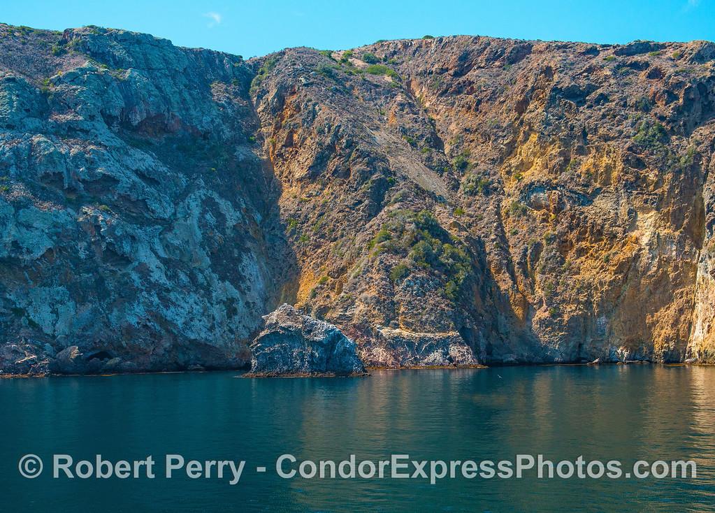 Northern face of Santa Cruz Island, Acorn Rock.