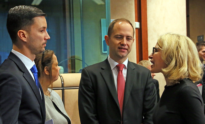 From left: Mr. Lukas Parizek, Secretary of State of the Ministry of Foreign and European Affairs, Slovak Republic; Mr. Jan Strbka, Chair of the EFTA Working Party; Ms Aurelia Frick, Minister of Foreign Affairs, Liechtenstein.