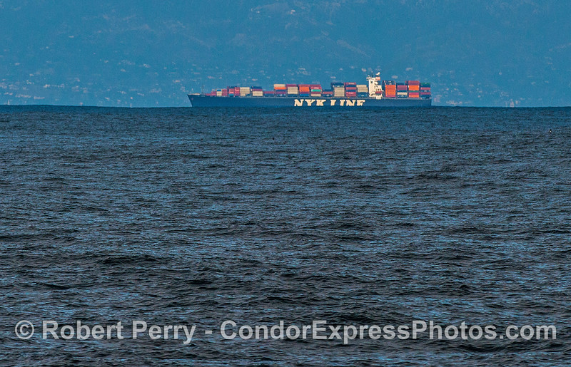 A huge ground swell rolls in front of an NYK Line container ship making half of its signage disappear.