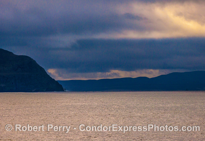 Santa Cruz Island (left) and Santa Rosa Island (right) in stormy conditions.