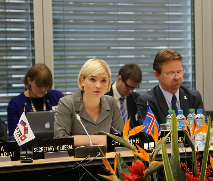 From left: Ms Lilja Alfreðsdóttir, Minister for Foreign Affairs and External Trade, Iceland; Mr Högni Kristjánsson, Ambassador, Permanent Representative, Permanent Mission of Iceland, Geneva