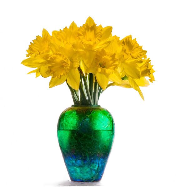 Daffodils in Blue/Green Vase