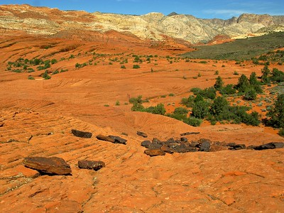 Volcanic reminents and variegated sandstone