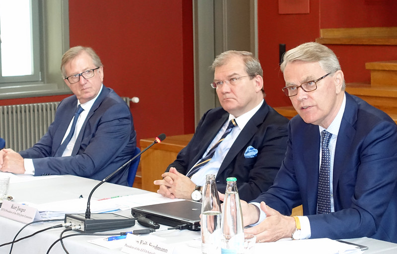 From left: Mr Claude Maerten, Head of Division, European External Action Service; Mr Kurt Jaeger, Ambassador, Liechtenstein; Mr Sven Erik Svedman, President of EFTA Surveillance Authority.