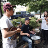 Left to right Jeremy Pahl, Danny Bell and Chloe Nakahara busk Thursday afternoon on the Corner of Brunswick Street and Third Avenue. Citizen photo by Brent Braaten   July 7 2016