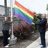 PG Pride Society President Stacey hewlett and Mayor Lyn Hall raise the Pride flag Thursday morning in anticipation of the Prince George Pride Parade this Saturday. Citizen photo by Brent Braaten   July 7 2016