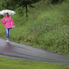 Ella Brunsdeon, 5, and Kathy Fox stay dry under their umbrillas Thursday morning as they walk by Connaught Hill on their way to the dentist. Citizen photo by Brent Braaten     July 14 2016