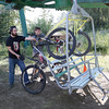 Mountain bikes get loaded on the chairlift at Tabor Mountain on Saturday for the opening day of the bike park. Citizen Photo by James Doyle     July 16, 2016