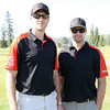 Prince George Cougars alumni and current Cougars owners Eric Brewer, left, and Dan Hamhuis, right, prior to teeing off in the 5th Annual Prince George Cougars Alumni/Hospital Charity Golf Tournament on Saturday at Prince George Golf and Curling Club. The event has helped raise over $230,000 in the past four years for the Spirit of the North Healthcare Foundation. Citizen Photo by James Doyle     July 16, 2016