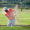 Tyler Brouilette from Williams Lake comes out of the bunker on the 5th hole at PGGCC during the first round of the Men's Simon Fraser Friday morning. Citizen photo by Brent Braaten    Aug 12 2016