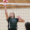 PGSS Polars August Reed tips the ball over the net against the Caledonia Kermodes on Saturday at College of New Caledonia gymnasium. The Polars and Kermodes met in the Junior A girls final of the Junior Kodiak Classic high school volleyball tournament. Citizen Photo by James Doyle      September 24, 2016