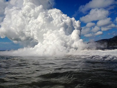 Lava steam cloud
