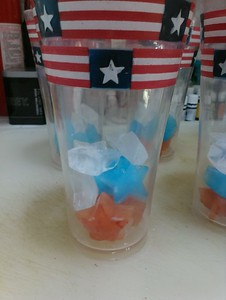 Red, White, and Blue Star Shaped Ice Cubes (to be covered with 7-Up - which immediately makes the whole glass red).