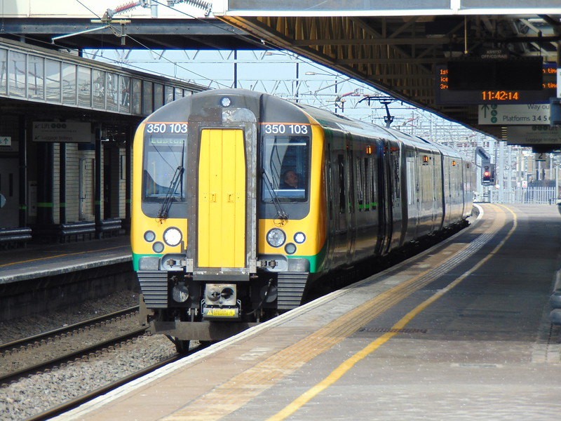 London Midland Class 350 Desiro no. 350103 at Milton Keynes Central on the 11.47 to Euston.