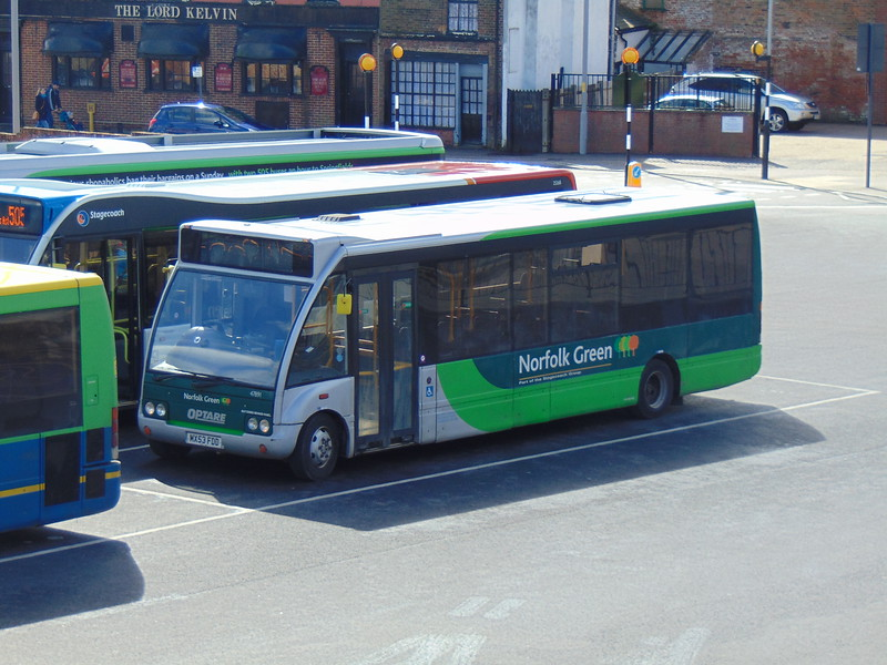 Stagecoach Norfolk Green Optare Solo MX53FDD 47891 in Kings Lynn bus station.