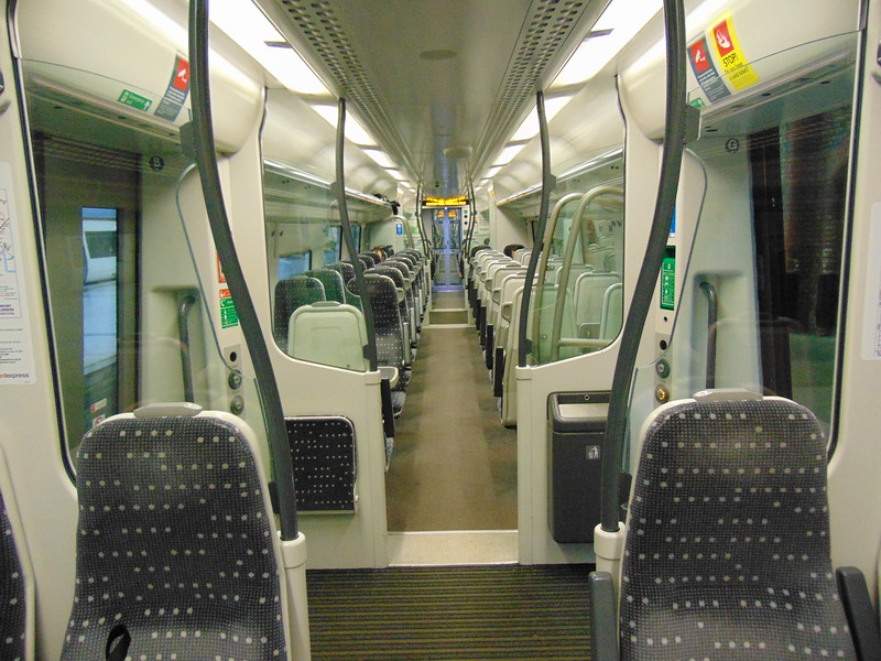 Abellio Greater Anglia Class 379 Electrostar no. 379003 interior at London Liverpool Street on a Cambridge service.