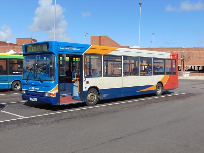Stagecoach Norfolk Green Dennis Dart PX04DSE 34580 in Kings Lynn bus station.