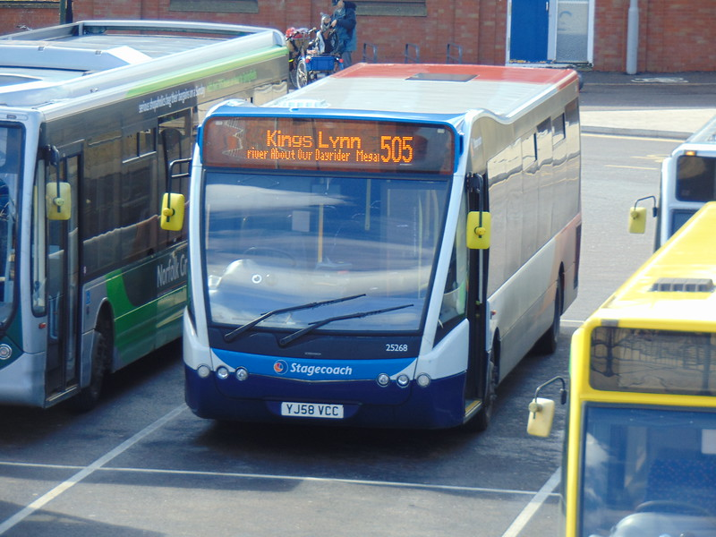 Stagecoach Norfolk Optare Versa YJ58VCC 25268 in Kings Lynn on the 505.