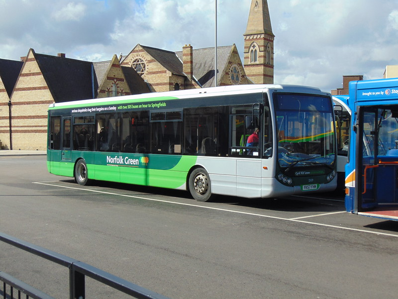 Stagecoach Norfolk Green Optare Tempo YK57FHM 25129 in Kings Lynn bus station.