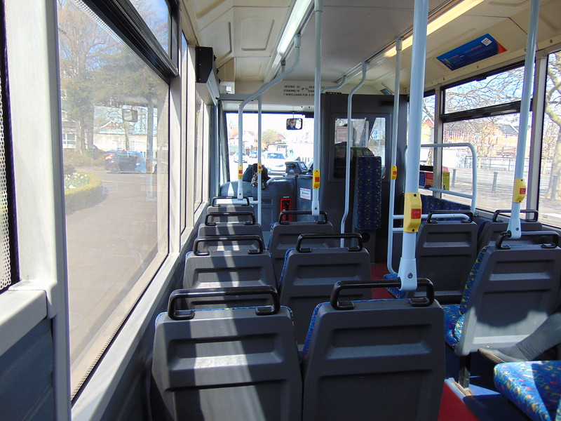 Stagecoach Norfolk Green Optare Solo YJ05XMT 47894 'Margery Kempe' interior in Knigs Lynn on a Coasthopper service.