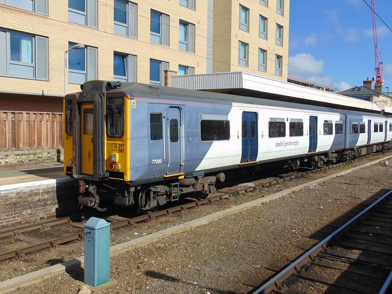 Abellio Greater Anglia Class 317 no. 317881 at Cambridge.